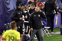 NASHVILLE, TN - SEPTEMBER 23: Head coach Gary Smith of Nashville SC yells at Alan Winn #19 of Nashville SC during a game between D.C. United and Nashville SC at Nissan Stadium on September 23, 2020 in Nashville, Tennessee.