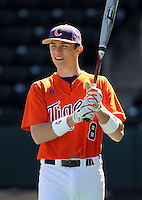 Clemson first baseman Richie Shaffer (8) prior to a game between the Clemson Tigers and South Carolina Gamecocks Saturday, March 6, 2010, at Fluor Field at the West End in Greenville, S.C. Shaffer is ranked No. 30 on Baseball America's list of top college freshmen draft prospects. Photo by: Tom Priddy/Four Seam Images