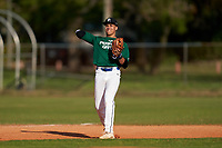 Third baseman John Hernandez (9) throws to first base during the Perfect Game National Underclass East Showcase on January 23, 2021 at Baseball City in St. Petersburg, Florida.  (Mike Janes/Four Seam Images)