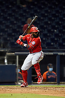 Washington Nationals Josh Harrison (5) bats during a Major League Spring Training game against the Houston Astros on March 19, 2021 at The Ballpark of the Palm Beaches in Palm Beach, Florida.  (Mike Janes/Four Seam Images)