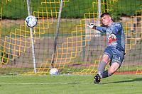 goalkeeper Gillian Verbrugge (1) of KSV Oudenaarde pictured during a friendly soccer game between KSV Oudenaarde and KV Kortrijk during the preparations for the 2021-2022 season , on Friday 16th of June 2021 in Oudenaarde , Belgium . PHOTO STIJN AUDOOREN | SPORTPIX