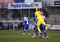 9th January 2021; Memorial Stadium, Bristol, England; English FA Cup Football, Bristol Rovers versus Sheffield United; Goalie Aaron Ramsdale of Sheffield United punches the ball clear over Jonah Ayunga of Bristol Rovers