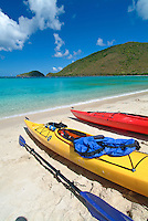 Colorful kayaks on the beach at Maho Bay in the Virgin Islands National Park