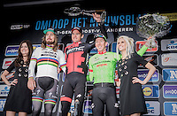 What an impressive 72nd Omloop Het Nieuwsblad 2017 podium!<br /> 1/ Olympic Champion Greg Van Avermaet (BEL/BMC)<br /> 2/ World Champion Peter Sagan (SVK/Bora-Hansgrohe)<br /> 3/ Sep Vanmarcke (BEL/Cannondale-Drapac)