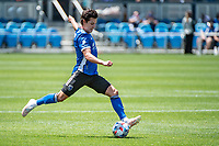 SAN JOSE, CA - APRIL 24: Carlos Fierro #7 of the San Jose Earthquakes shoots the ball during a game between FC Dallas and San Jose Earthquakes at PayPal Park on April 24, 2021 in San Jose, California.