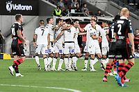 30th December 2020; Bankwest Stadium, Parramatta, New South Wales, Australia; A League Football, Western Sydney Wanderers versus Macarthur FC; Benat Etxebarria Urkiaga of Macarthur FC celebrates with teammates after scoring to make it 1-0 in the 73rd minute , the goal was later credited to Mark Milligan