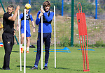 St Johnstone Training …03.08.21  <br />Murray Davidson pictured during training this morning at McDiarmid Park with fitness coach Alex Headrick before heading to Turkey to face Galatasaray in the Europa League third qualfying round first leg.<br />Picture by Graeme Hart.<br />Copyright Perthshire Picture Agency<br />Tel: 01738 623350  Mobile: 07990 594431
