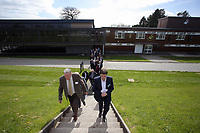 Pictured: Leigh Dineen (R) walks to one of the pitches Tuesday 04 April 2017<br />Re: Official opening of the Fairwood Training Complex of Swansea City FC, Wales, UK