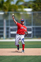 Boston Red Sox Mike Olt (20) during practice before a minor league Spring Training game against the Baltimore Orioles on March 16, 2017 at the Buck O'Neil Baseball Complex in Sarasota, Florida. (Mike Janes/Four Seam Images)
