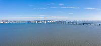 France, Loire Atlantique, Saint Brevin les Pins and Saint Nazaire, Saint-Nazaire bridge above the Loire estuary (aerial view) // France, Loire-Atlantique (44), Saint-Brevin-les-Pins et Saint-Nazaire, pont de Saint-Nazaire au-dessus de l'estuaire de la Loire (vue aérienne)