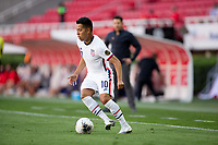 ZAPOPAN, MEXICO - MARCH 21: Sebastian Saucedo #10 of the United States moves with the ball during a game between Dominican Republic and USMNT U-23 at Estadio Akron on March 21, 2021 in Zapopan, Mexico.