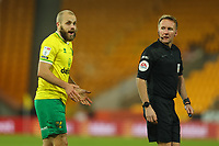 29th December 2020; Carrow Road, Norwich, Norfolk, England, English Football League Championship Football, Norwich versus Queens Park Rangers; Teemu Pukki of Norwich City speaks to the referee