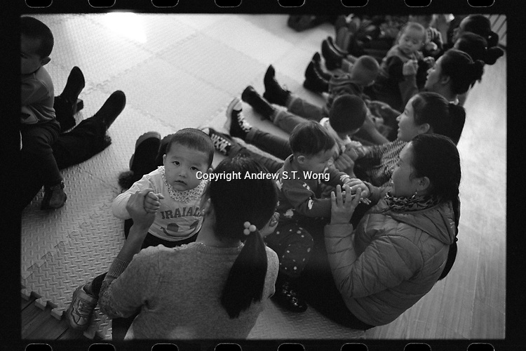 Jeminay County, Xinjiang Uygur Autonomous Region, China - Toddlers attend a play group, October 2019.