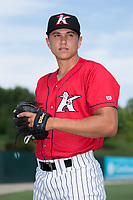 Kannapolis Intimidators pitcher Tyler Johnson (22) poses for a photo prior to the game against the Greensboro Grasshoppers at Kannapolis Intimidators Stadium on August 13, 2017 in Kannapolis, North Carolina.  The Grasshoppers defeated the Intimidators 4-1 in 10 innings in the completion of a game suspended on August 12, 2017.  (Brian Westerholt/Four Seam Images)