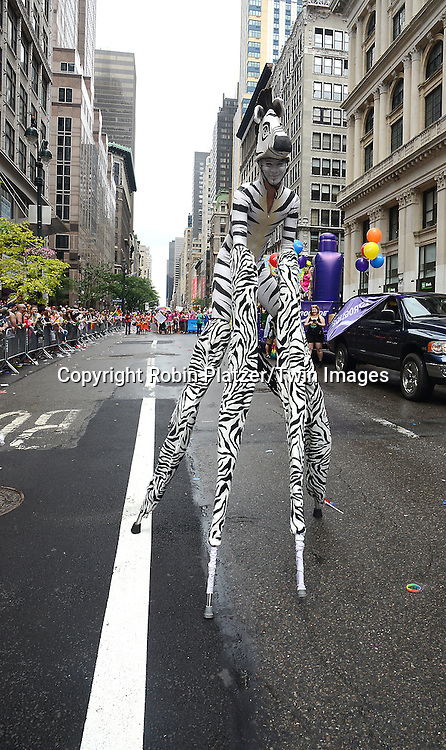 Marcher George Peele of OrangePeelmoses.com attends the 2015 NYC Pride March on June 28, 2015 on Fifth Avenue in New York City.<br /> <br /> photo by Robin Platzer/Twin Images<br />  <br /> phone number 212-935-0770