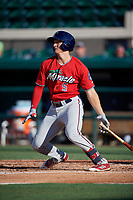 Fort Myers Miracle Andrew Bechtold (5) bats during a Florida State League game against the Lakeland Flying Tigers on August 3, 2019 at Publix Field at Joker Marchant Stadium in Lakeland, Florida.  Lakeland defeated Fort Myers 4-3.  (Mike Janes/Four Seam Images)