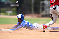Toronto Blue Jays Angel Del Rosario (43) slides head first into second base during an Extended Spring Training game against the Philadelphia Phillies on June 12, 2021 at the Carpenter Complex in Clearwater, Florida. (Mike Janes/Four Seam Images)