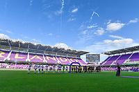 ORLANDO, FL - MAY 16: Washington Spirit Starting XI and Orlando Pride Starting XI during a game between Washington Spirit and Orlando Pride at Exploria Stadium on May 16, 2021 in Orlando, Florida.