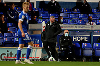 16th September 2020; Portman Road, Ipswich, Suffolk, England, English Football League Cup, Carabao Cup, Ipswich Town versus Fulham; Ipswich Town Manager Paul Lambert kicks the ball back into play