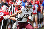 Texas A&M Aggies wide receiver Jeremy Tabuyo (19) in action during the game between the Texas A&M Aggies and the SMU Mustangs at the Gerald J. Ford Stadium in Fort Worth, Texas. A&M leads SMU 38 to 3 at halftime.