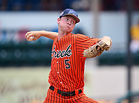 Spruce Creek Hawks pitcher Brandon Neely (5) during the 42nd Annual FACA All-Star Baseball Classic on June 6, 2021 at Joker Marchant Stadium in Lakeland, Florida.  (Mike Janes/Four Seam Images)