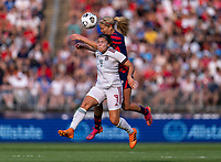 EAST HARTFORD, CT - JULY 5: Lindsey Horan #9 of the USWNT goes up for a header with Kiana Palacios #9 of Mexico during a game between Mexico and USWNT at Rentschler Field on July 5, 2021 in East Hartford, Connecticut.