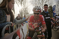 exhausted race winner Kenny Dehaes (BEL) straight after finishing and unclear whether he won or no. Explaing his fiancée Romina Planckaert how close it was<br /> <br /> Nokere Koerse 2014