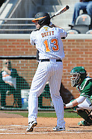 Matt Duffy #13 of the Tennessee Volunteers waits on a pitch at Lindsey Nelson Stadium against the the Manhattan Jaspers on March 12, 2011 in Knoxville, Tennessee.  Tennessee won the first game of the double header 11-5.  Photo by Tony Farlow / Four Seam Images..