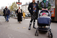A Chechen man with is wife and there 6 month old daughter, next to a subway station in Paris. The 4 years old boy, is at school..They are living in a one room hotel provided by the CAFDA organisation, near Nation district in Paris..They receive basic help (soap, oil, powder baby milk, pampers,) from Les resto du coeur organisation and obtain daily food (hot soup, bread, meat can, yogurt, fruit) from la soupe populaire one per day, late in the evening, offer by the city administration of Paris. No food or money are give to them by the French government for more them a year. He have no right during the procedure, to apply for any lucrative work..After the second invasion by the Russian force in 1999, a OMON (police special force) camp have been settle in the front of his hand made new family house. During more of 3 years, the OMON force train themselves to shoot in the direction of his house. Several impact of Kalashnikovs, RPGs and mortars made In Allah he say, no injury. In February 2004, he write a letter to the internal minister and at the minister of justice, complaining of this non-stop persecution. Soon after, he get arrested by the police and imprisoned. They threat him, if he do not stop to complain to the justice. After is release, back home, he receive the visit of the OMON commandant, who seriously, treat him if they do not leave the house. .The next day, he buy 2 passports (400.-$ per document) and leave for Paris. .In October 2004 they escape Grozny for Moscow and them Brest by train. After been arrested in Poland, they have to register (finger print and give passport) in Debak centre and stay 12 days in a Warsaw stalag (centre). They barrow official ID document from the Chechen community and take the Eurolines Bus, Warsaw-Paris. Arriving in Paris, he return the document to the community in Warsaw..His hand made family house, is now occupied by officers of the OMON force..They have receive a decision de rejet dune demande dasil