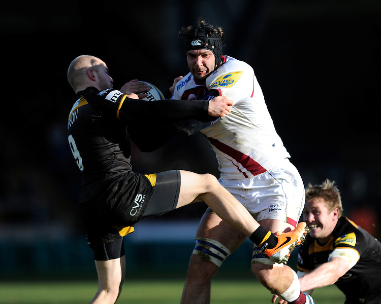 Andrei Ostrikov of Sale Sharks charges through Joe Simpson of London Wasps and Joe Carlisle of London Wasps during the Aviva Premiership match between London Wasps and Sale Sharks at Adams Park on Saturday 1st March 2014 (Photo by Rob Munro)