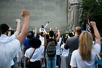 NEW YORK, USA - May 25: Protesters in support of Black Lives Matteren gather in Cadman Plaza Park on the first anniversary of death on May 25, 2021 in New York City. George Floyd's assassination in Minneapolis sparked a worldwide outcry and continued to propel the Black Lives Matter movement through different cities in the United States and the world. (Photo by Pablo Monsalve / VIEWpress via Getty Images)