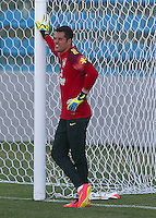Brazil goalkeeper Julio Cesar, the hero in the last round against Chile, appears in relaxed mood during training ahead of tomorrow's World Cup quarter final vs Colombia
