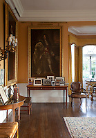 Henry FitzRoy, 1st Duke of Grafton and illigitimate son of Charels II and Barbara Villiers, looks down from his painting in the dining room.with a nonchalant gleam in his eye