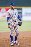 Burlington Royals third baseman Angelo Castellanos (13) on defense against the Pulaski Mariners at Calfee Park on June 20, 2014 in Pulaski, Virginia.  The Mariners defeated the Royals 6-4. (Brian Westerholt/Four Seam Images)