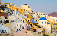 Houses on the mountain cliffs of the small isolated roamntic city of Oia, Santorini Greece