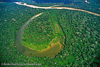Cocha Brasko and Rio Manu at confluence with Rio Pinquen in lowland tropical rainforest, Manu National Park, Madre de Dios, Peru.