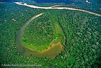 Cocha Brasko and Rio Manu at confluence with Rio Pinquen in lowland tropical rainforest, Manu National Park, Madre de Dios, Peru.
