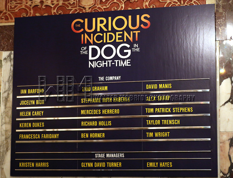 Lobby Cast Boards during the Broadway Opening Night Performance Curtain Call for 'The Curious Incident of the Dog in the Night-Time'  at the Barrymore Theatre on October 5, 2014 in New York City.