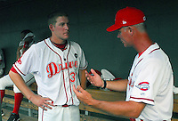July 25, 2009: Greenville Drive LHP Nick Hagadone (32), left, talks with pitching coach Bob Kipper after throwing three no-hit innings in a game at Fluor Field at the West End in Greenville, S.C. Hagadone, recovering from Tommy John surgery in 2008, was limited by pitch count to three innings. Photo by: Tom Priddy/Four Seam Images