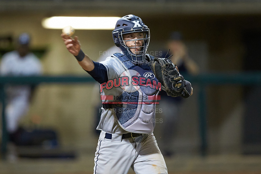 Xavier Musketeers catcher Nate Soria (5) makes a throw to first base against the Penn State Nittany Lions at Coleman Field at the USA Baseball National Training Center on February 25, 2017 in Cary, North Carolina. The Musketeers defeated the Nittany Lions 7-5 in game two of a double header. (Brian Westerholt/Four Seam Images)