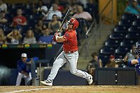 Scott Schebler (15) of the Louisville Bats follows through on his swing against the Durham Bulls at Durham Bulls Athletic Park on May 28, 2019 in Durham, North Carolina. The Bulls defeated the Bats 18-3. (Brian Westerholt/Four Seam Images)