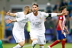 Real Madrid's Sergio Ramos celebrates goal during UEFA Champions League 2015/2016 Final match.May 28,2016. (ALTERPHOTOS/Acero)