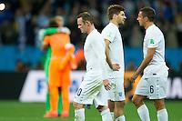 Wayne Rooney and Steven Gerrard of England looks dejected
