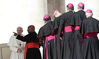Papa Francesco saluta alcuni prelati durante l'udienza generale del mercoledi' in Piazza San Pietro, Citta' del Vaticano, 10 ottobre 2018.<br /> Pope Francis greets some prelates during his weekly general audience in St. Peter's Square at the Vatican, on October 10, 2018.<br /> UPDATE IMAGES PRESS/Isabella Bonotto<br /> <br /> STRICTLY ONLY FOR EDITORIAL USE