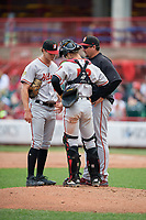 Altoona Curve coach Joel Hanrahan (52) talks with pitcher Blake Cederlind (35) and catcher Arden Pabst (53) during an Eastern League game against the Erie SeaWolves on June 5, 2019 at UPMC Park in Erie, Pennsylvania.  Altoona defeated Erie 6-2.  (Mike Janes/Four Seam Images)