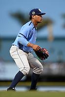 Charlotte Stone Crabs third baseman Juniel Querecuto (3) during a game against the Bradenton Marauders on April 20, 2015 at McKechnie Field in Bradenton, Florida.  Charlotte defeated Bradenton 6-2.  (Mike Janes/Four Seam Images)