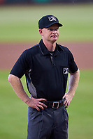Umpire Austin Nelson before a game between the Jupiter Hammerheads and Bradenton Marauders on June 26, 2021 at LECOM Park in Bradenton, Florida.  (Mike Janes/Four Seam Images)