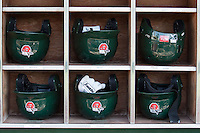 Fort Wayne TinCaps helmet rack on May 23, 2016 at Parkview Field in Fort Wayne, Indiana.  (Andrew Woolley/Four Seam Images)