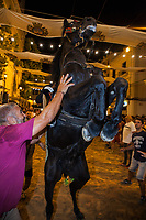"Spain. Balearic Islands. Minorca (Menorca). Mahon. Nighttime. Rising horse at  ""Fiestas de la Mare de Déu de Gràcia"" during the traditional summer festival. The Menorquín is a breed of horse indigenous to the island and is closely associated with the doma menorquina style of riding. The riders wear black and white and most of their horses (adorned with ribbons and multi-coloured rosettes) are of the highly-considered Menorcan breed. The riders and their horses parade through the streets, and these magnificent and remarkably calm horses rear up on their hind-legs to the delight of the crowd. The most valued quality of Menorquín horse is its suitability for the traditional festivals of Menorca. Horses and riders are at the centre of local fiesta celebrations, in a tradition that may go back to the 14th century and incorporate elements of Christian, pagan and Moorish ritual. Some 150 riders participate in the festival in Mahón. Riders pass through the crowds, executing caracoles and repeatedly performing the bot. The aim of the 'bot' is for the horse to stand on its hind legs while keeping its head and shoulders relaxed and without tension; the more often it is performed and the greater the distance travelled, the greater the applause of the crowd. The elevade, in which the horse beats the air with the front hooves, is also a part of the ritual of the fiesta. Touching the horses is believed to bring good luck. Maó (in Catalan) and Mahón (in Spanish), written in English as Mahon, is a municipality, the capital city of the island of Menorca, and seat of the Island Council of Menorca. The city is located on the eastern coast of the island, which is part of the autonomous community of the Balearic. In Spain, an autonomous community is a first-level political and administrative division, created in accordance with the Spanish constitution of 1978, with the aim of guaranteeing limited autonomy of the nationalities and regions that make up Spain. 7.09.2019 © 2019 Didier Ruef"