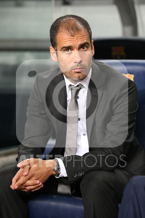 FC Barcelona's coach Pep Guardiola during the Supercup of Spain.August 23 2009. (ALTERPHOTOS/Acero)